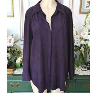 Chico's (3 16)  Faux Suede Soft Silky Button Down